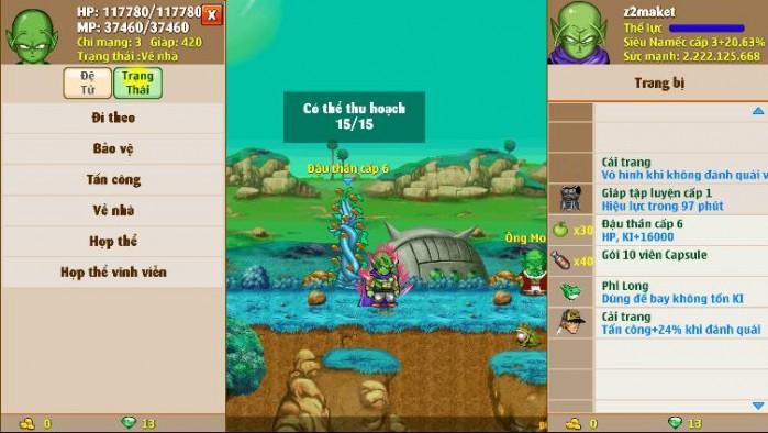 Thông tin nick Ngọc Rồng mã số 5838