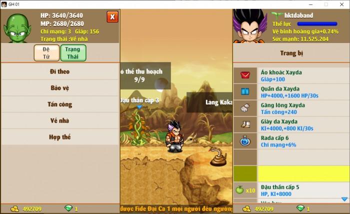 Thông tin nick Ngọc Rồng mã số 6734