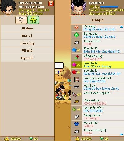 Thông tin nick Ngọc Rồng mã số 246